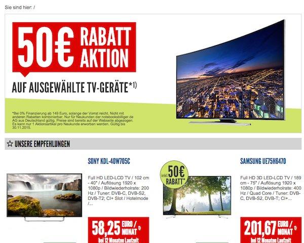 nullprozentshop 50 euro rabatt tv