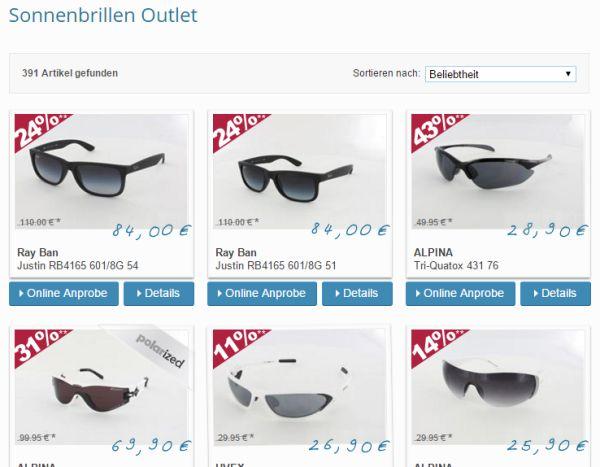 brillenplatz sonnenbrillen outlet 40 prozent rabatt