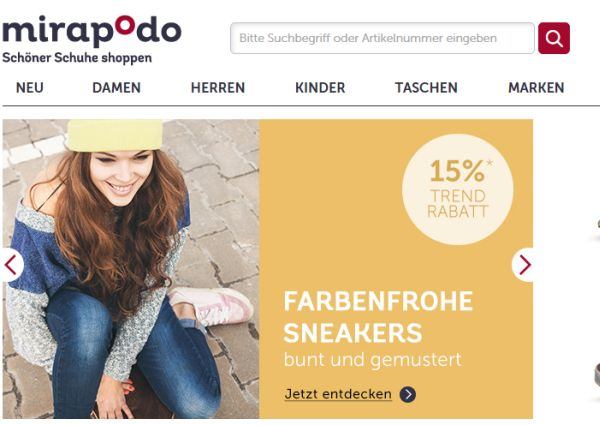 mirapodo 15 prozent rabatt trendsneaker