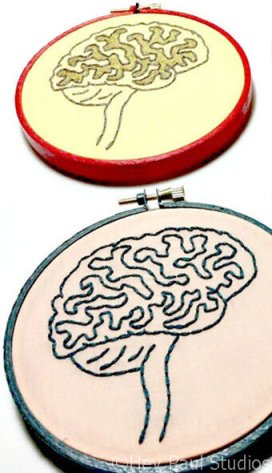 brain anatomy - embroidered