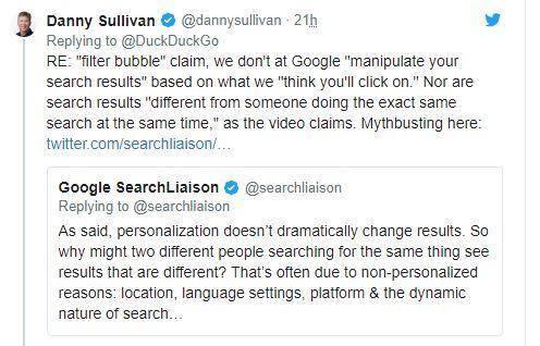 Google's Twitter response to DuckDuckGo via Danny Sullivan