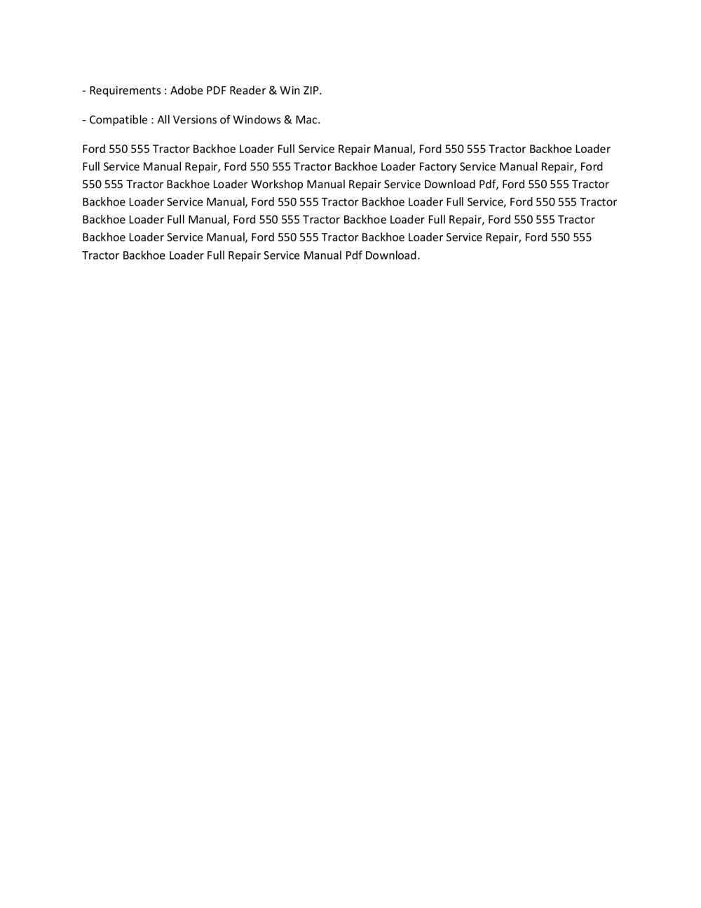 medium resolution of ford 550 555 tractor backhoe loader full service repair manual pages 1 2 text version anyflip