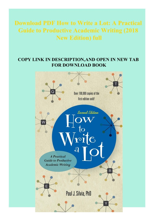 Download PDF How to Write a Lot A Practical Guide to Productive