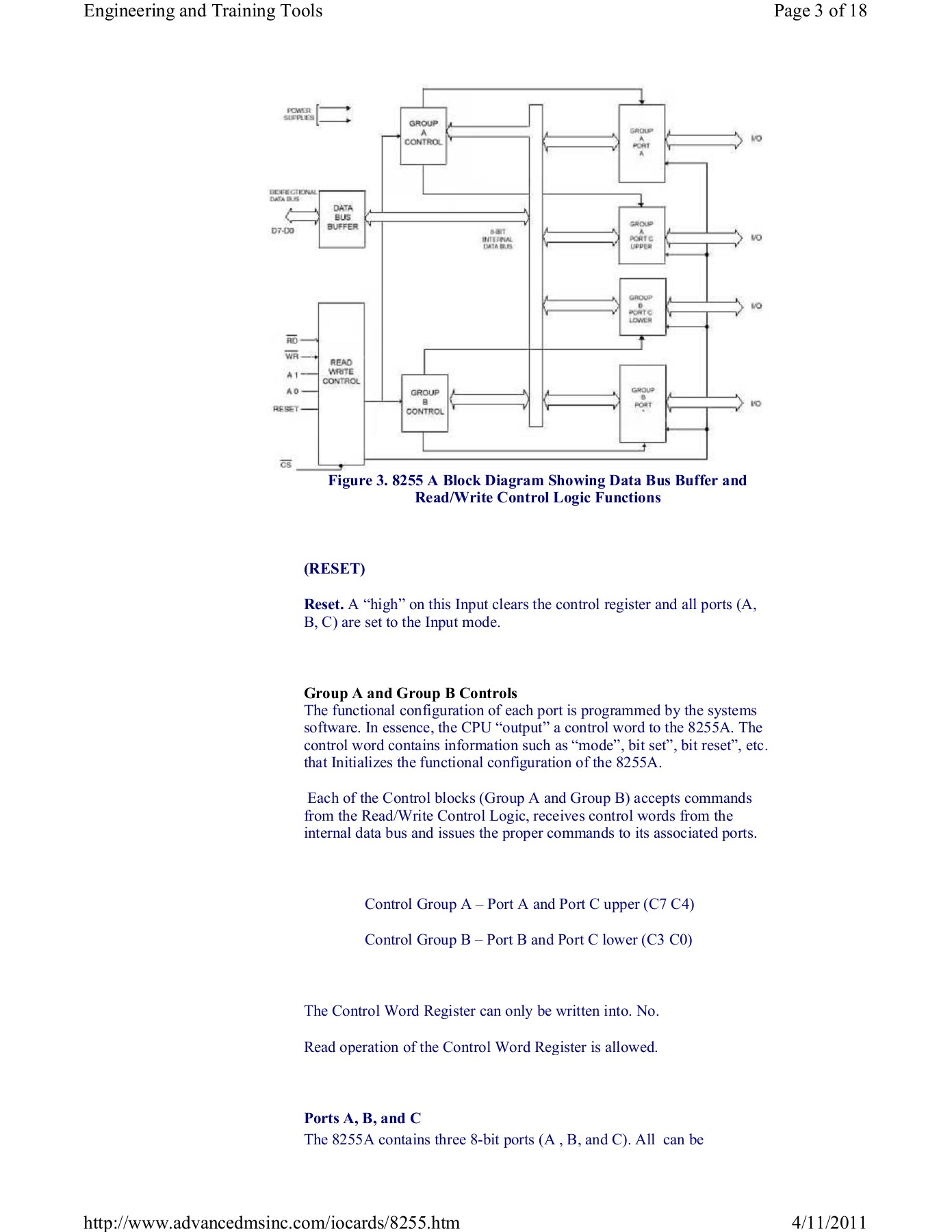 hight resolution of 8255 a block diagram showing data bus buffer and read write control logic functions reset reset a high on this input clears the control register