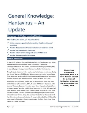 General Knowledge: Hantavirus – An Update Pages 1 - 6 - Text ...