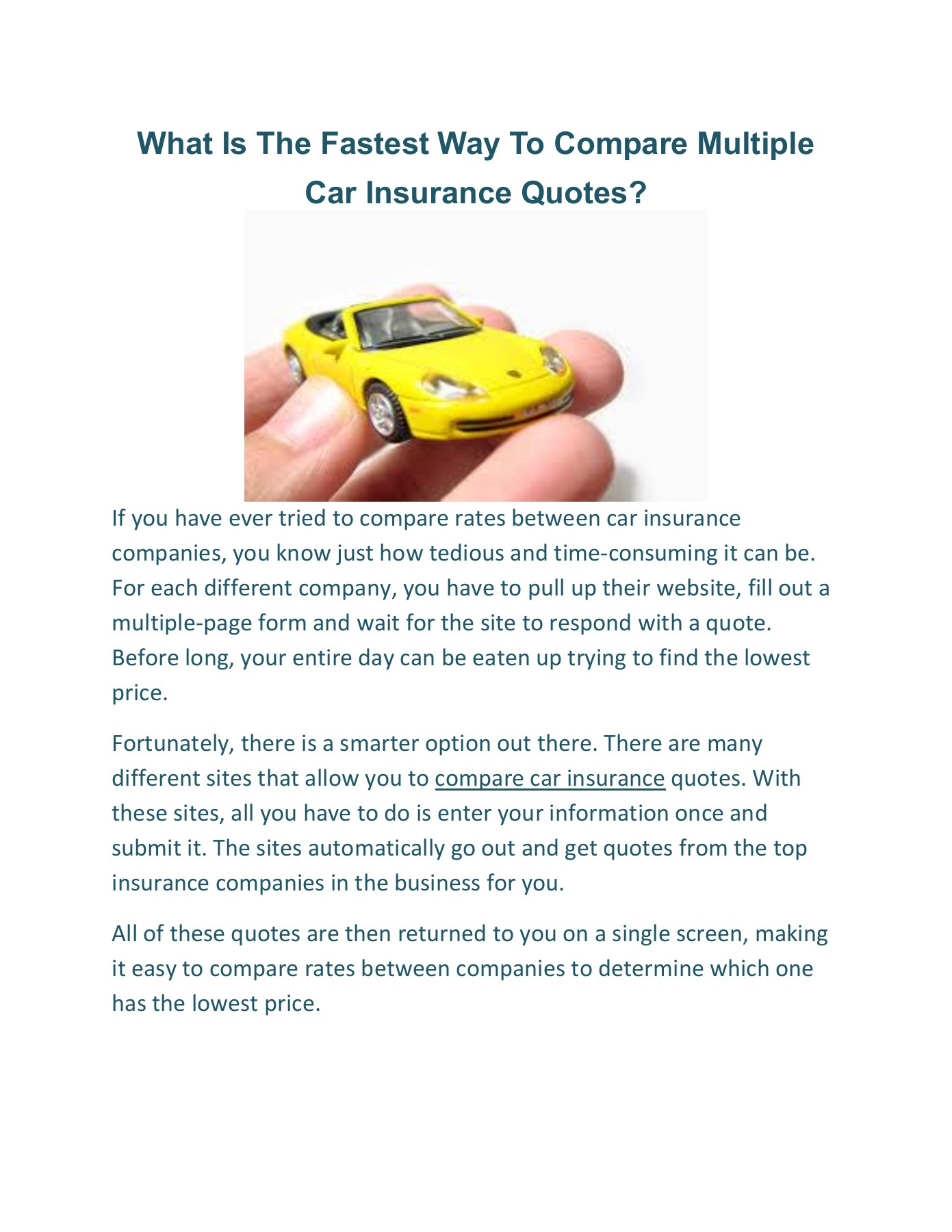 What Is The Fastest Way To Compare Multiple Car Insurance Quotes 1 Pages 1 2 Text Version Anyflip