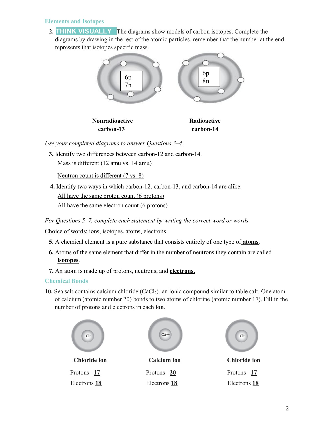 Types Of Chemical Bonds Worksheet Answers Cacl2