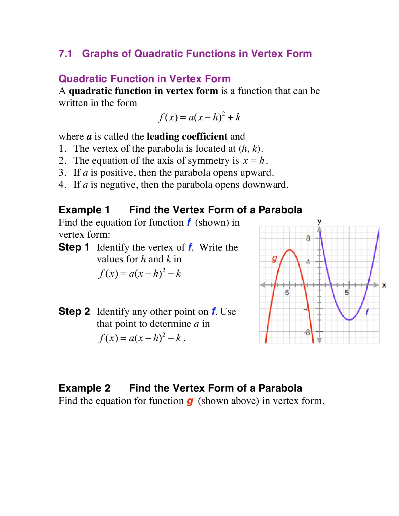 How Do You Graph A Quadratic Equation In Vertex Form