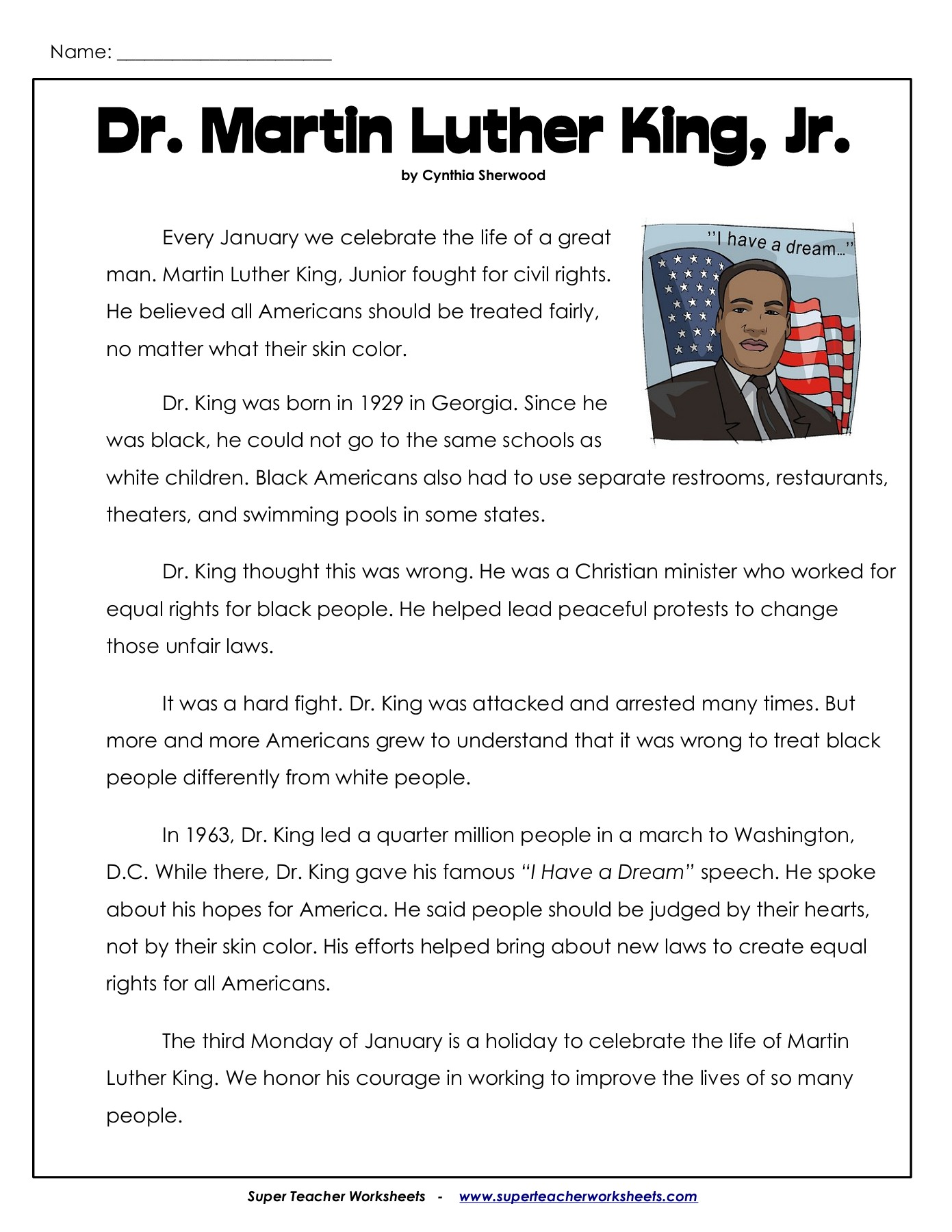Dr Martin Luther King Jr Worksheets