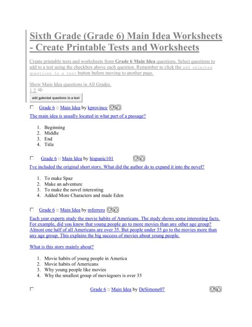 small resolution of Sixth Grade (Grade 6) Main Idea Worksheets - Create ...