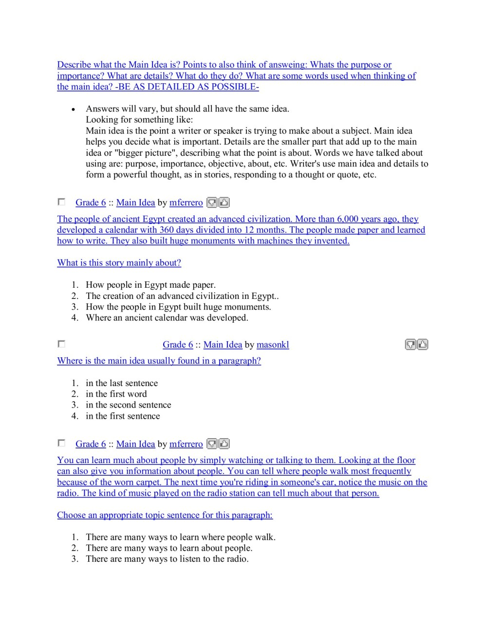 medium resolution of Sixth Grade (Grade 6) Main Idea Worksheets - Create ...