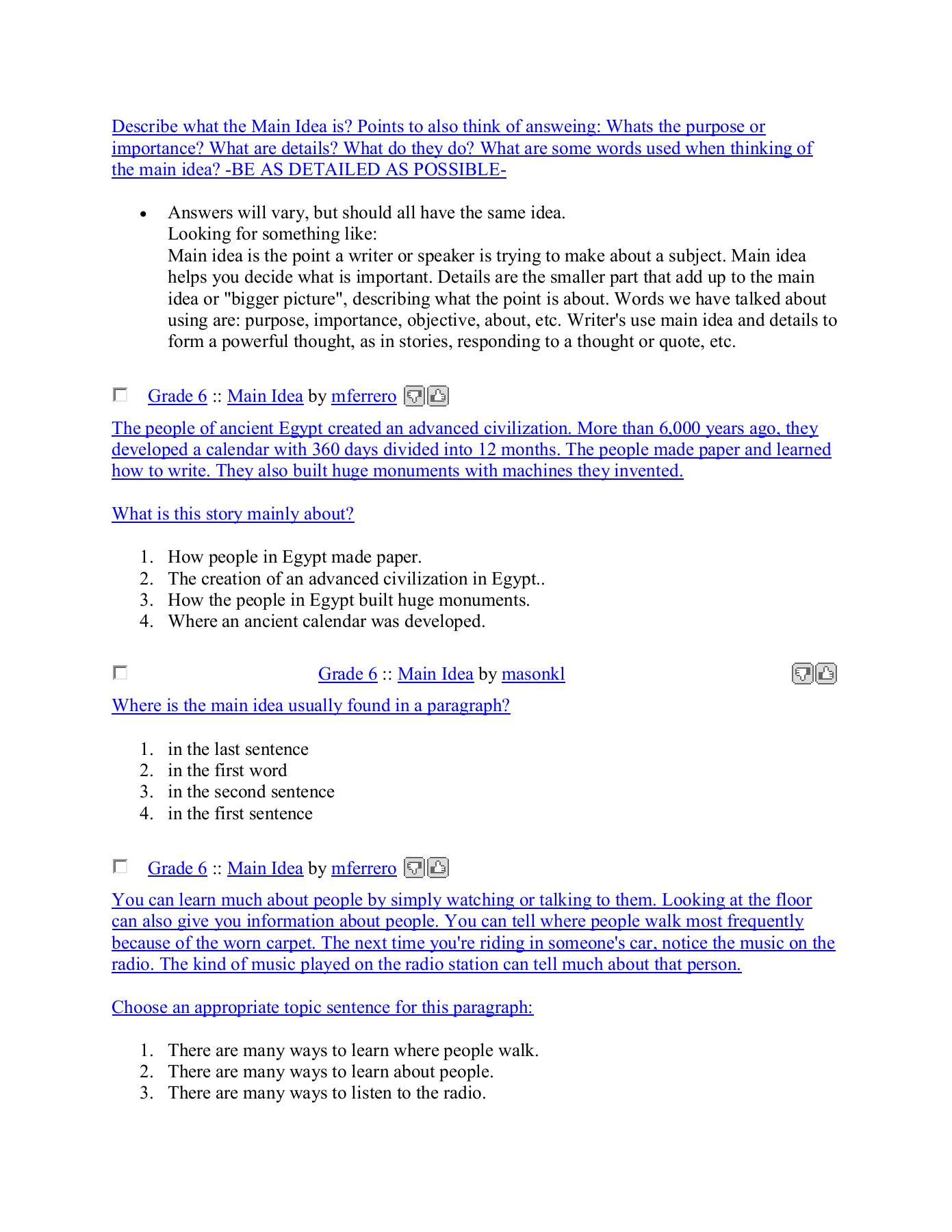hight resolution of Sixth Grade (Grade 6) Main Idea Worksheets - Create ...