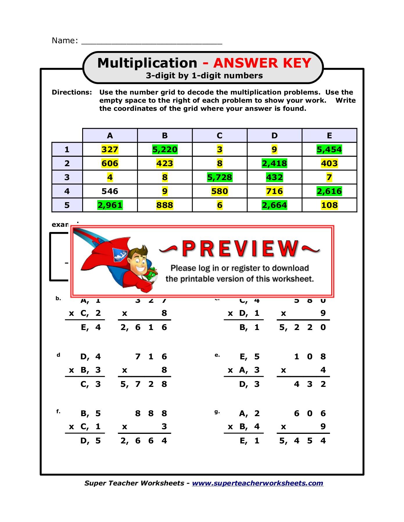 Super Teacher Worksheets Multiplication