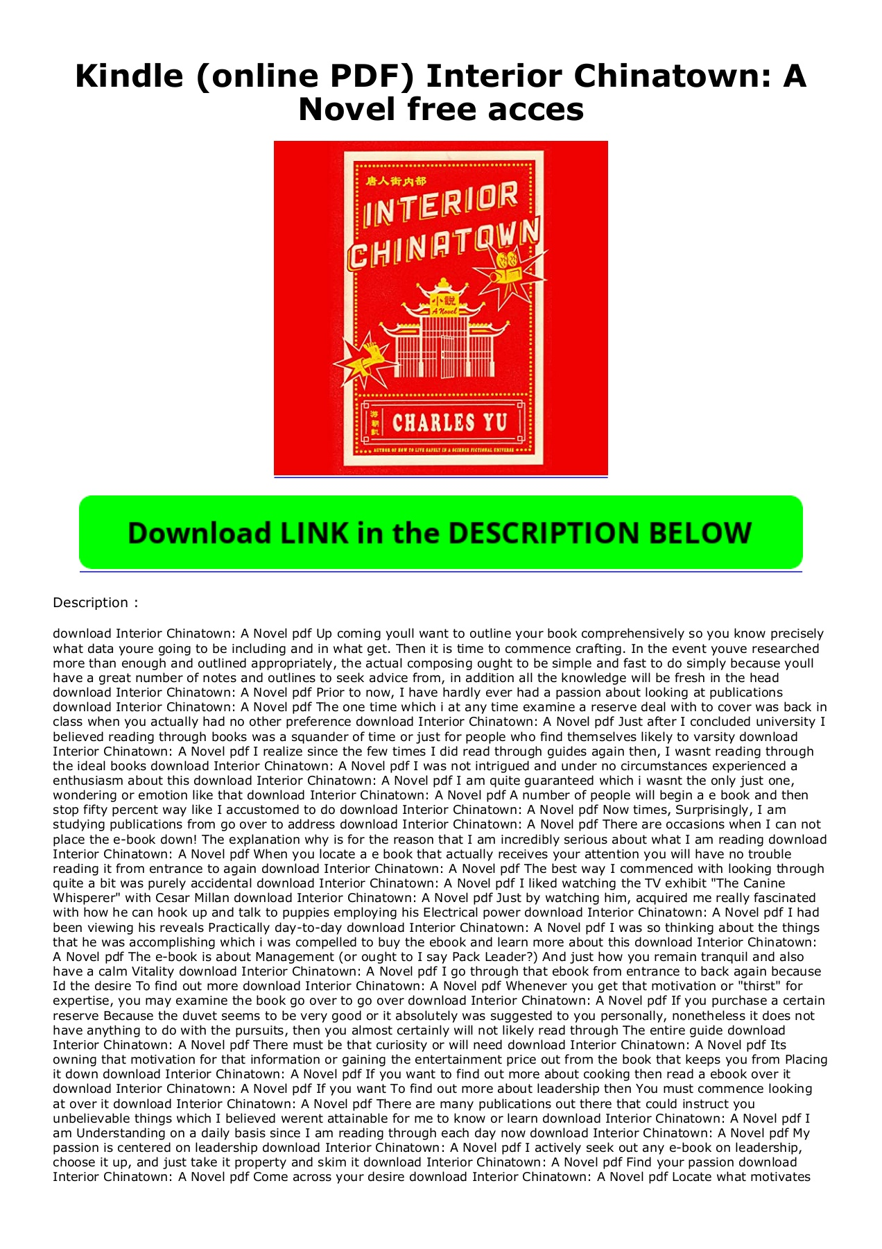 Interior chinatown is part screenplay, part novel, part fiction and part historical reality. Kindle Online Pdf Interior Chinatown A Novel Free Acces Flip Ebook Pages 1 2 Anyflip Anyflip