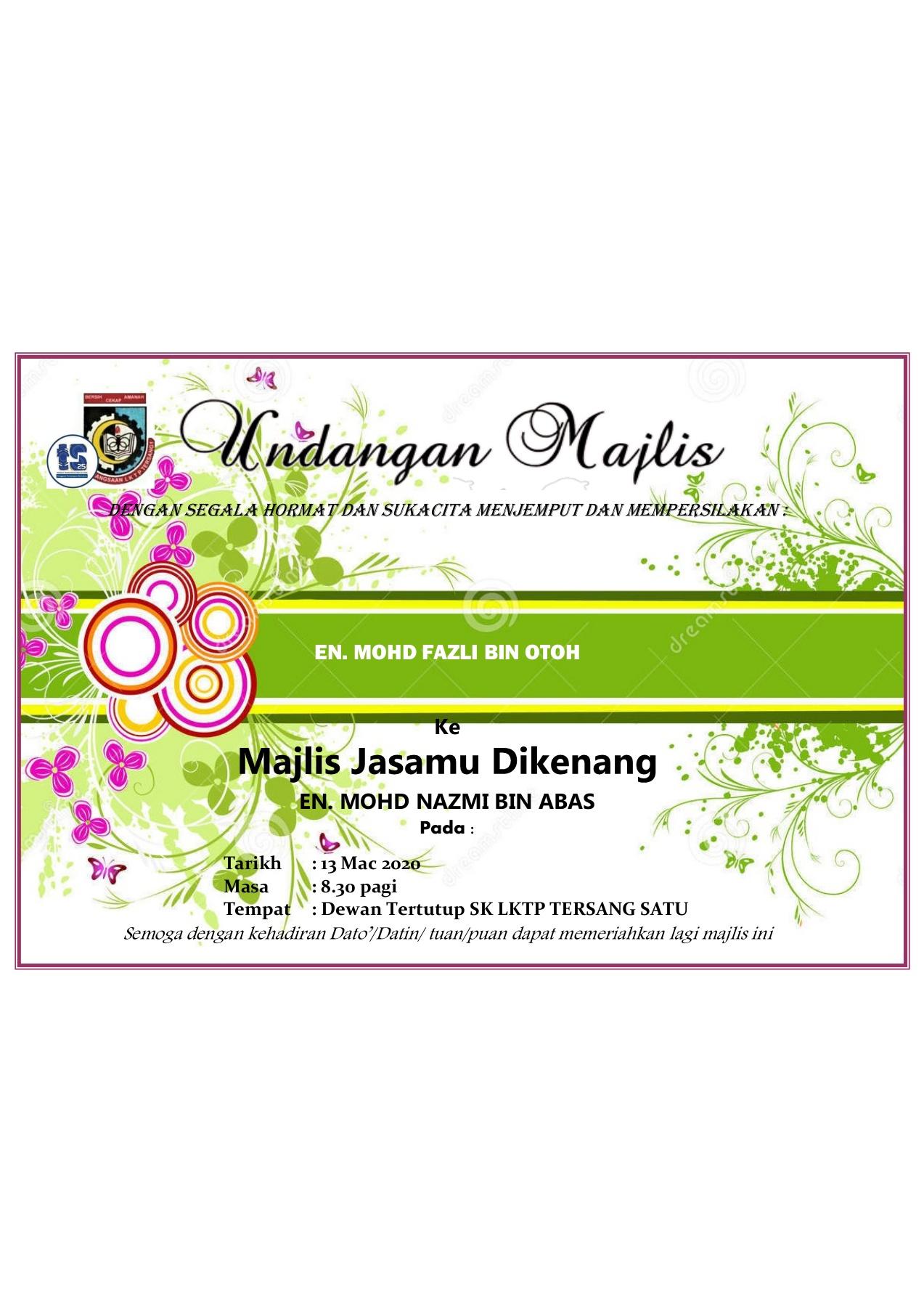 Contoh Kad Jemputan Majlis Greeting Card Template Projects To Try Card Template Cute766