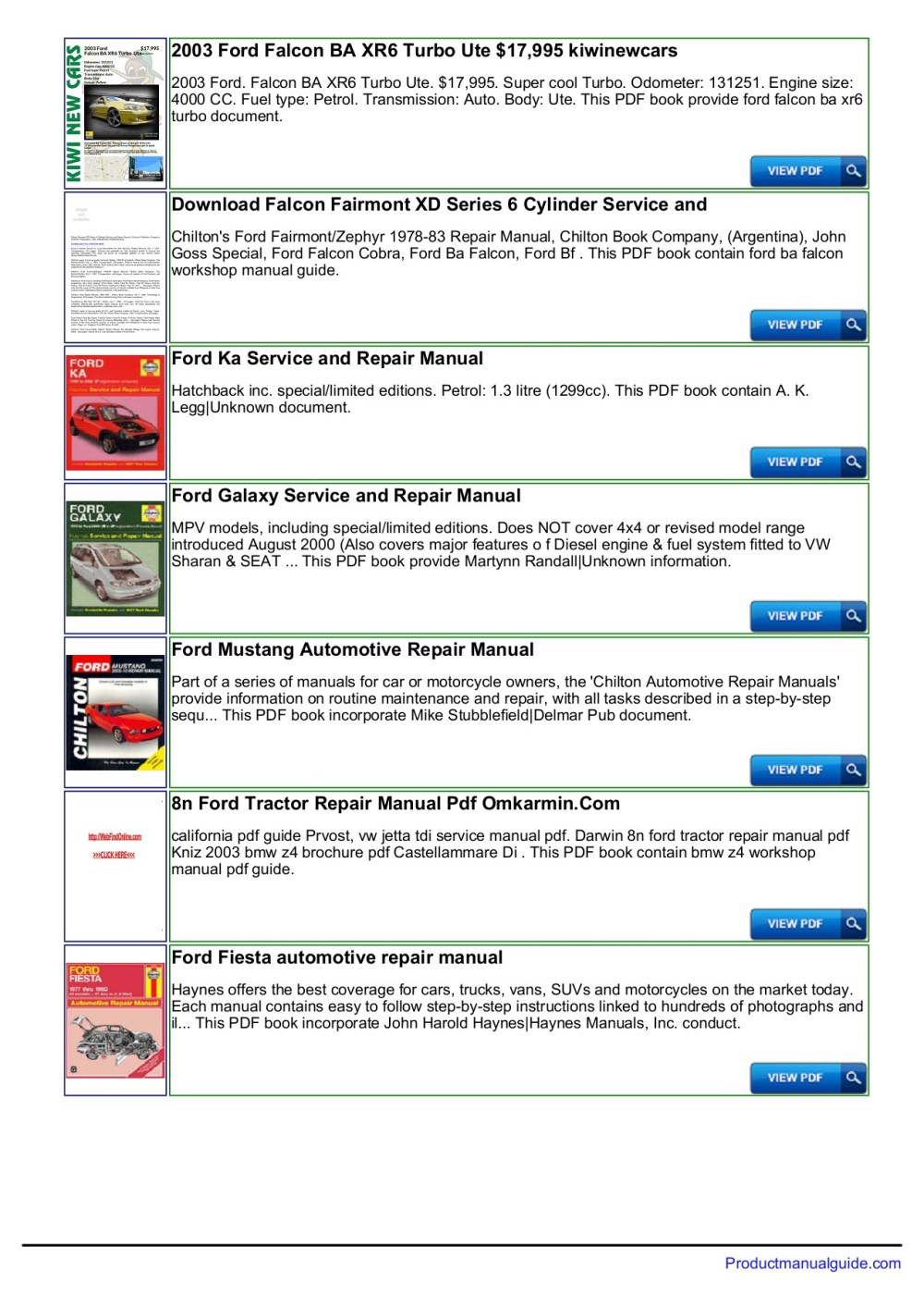 medium resolution of ford falcon au repair manual download productmanualguide pages 1 3 text version anyflip