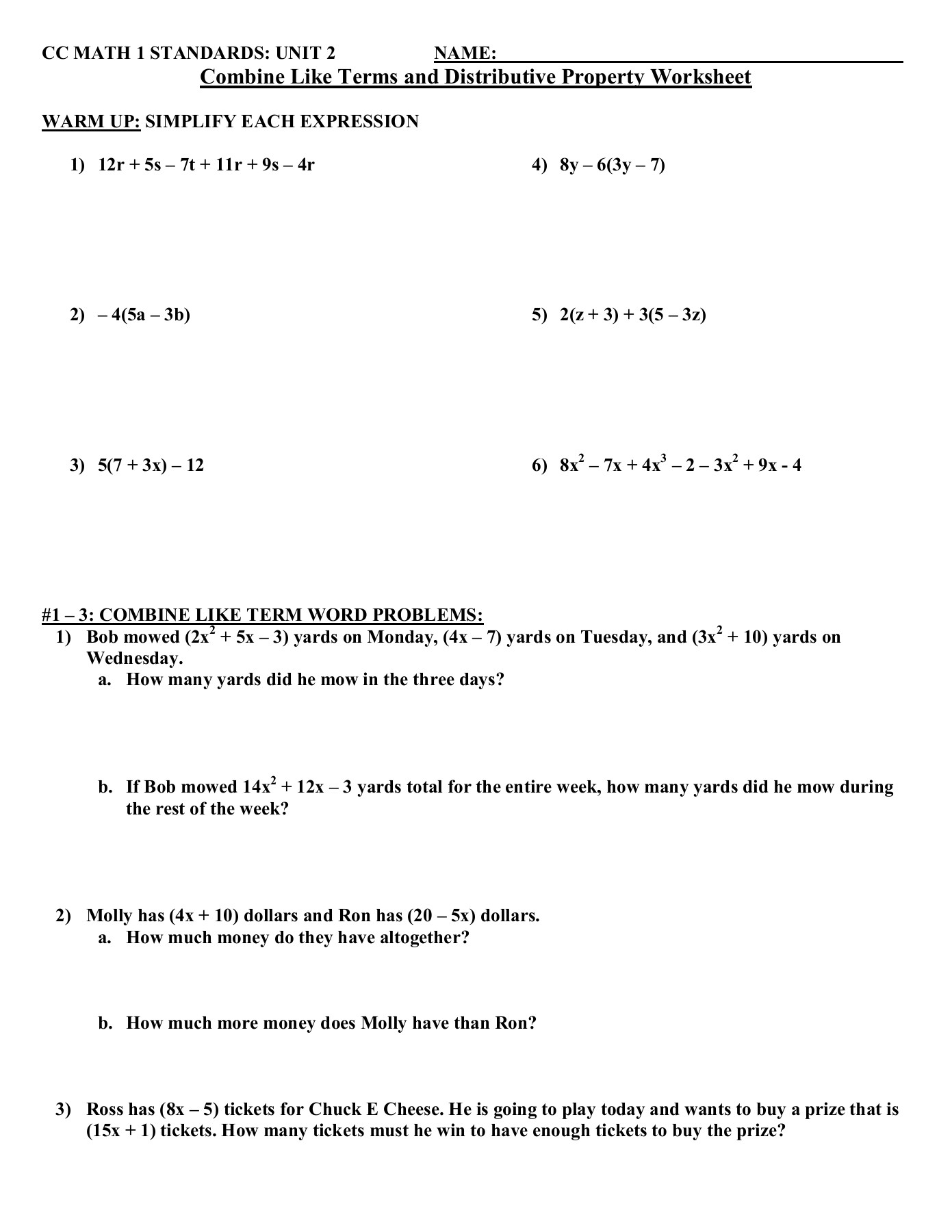 Combining Like Terms And Distributive Property Worksheet