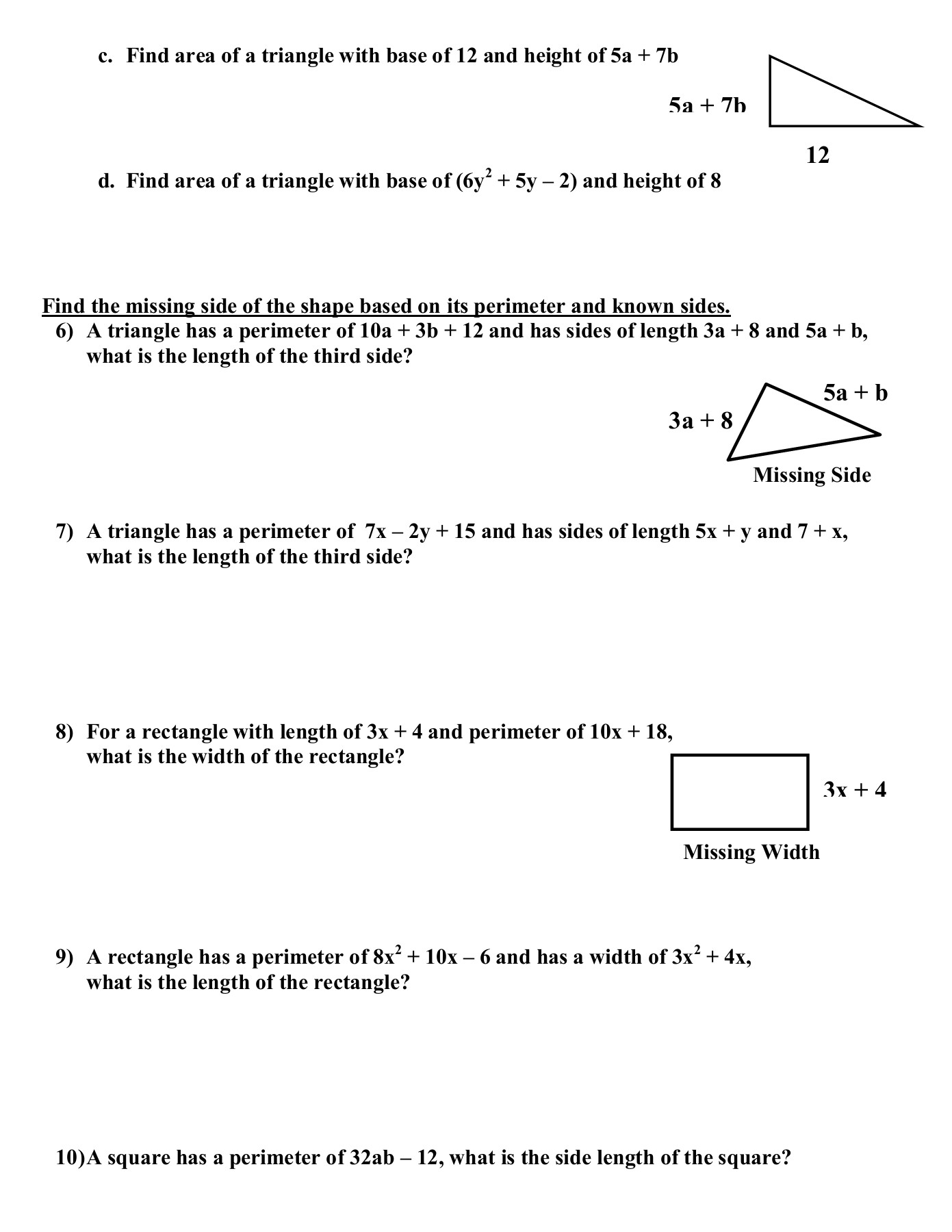 Combining Like Terms Worksheet With Answers