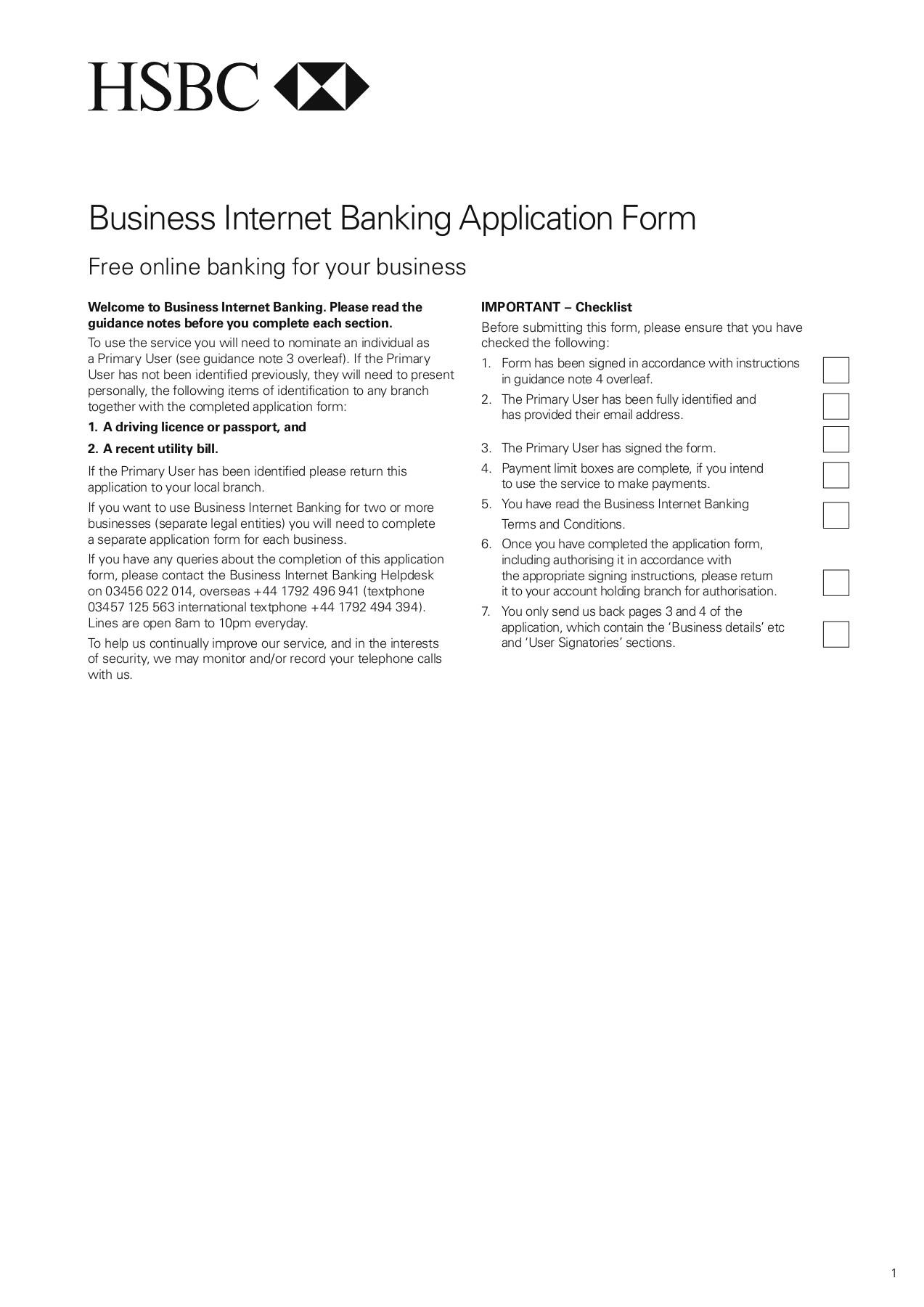 Business Internet Banking Application Form Hsbc Bank
