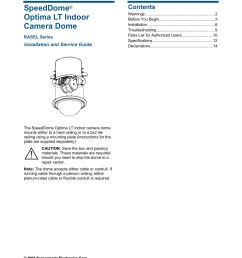 speeddome optima lt indoor camera dome 8200 0181 01 rev e installation and service guide 2 of 14 warnings please review the following warnings before you [ 1391 x 1800 Pixel ]