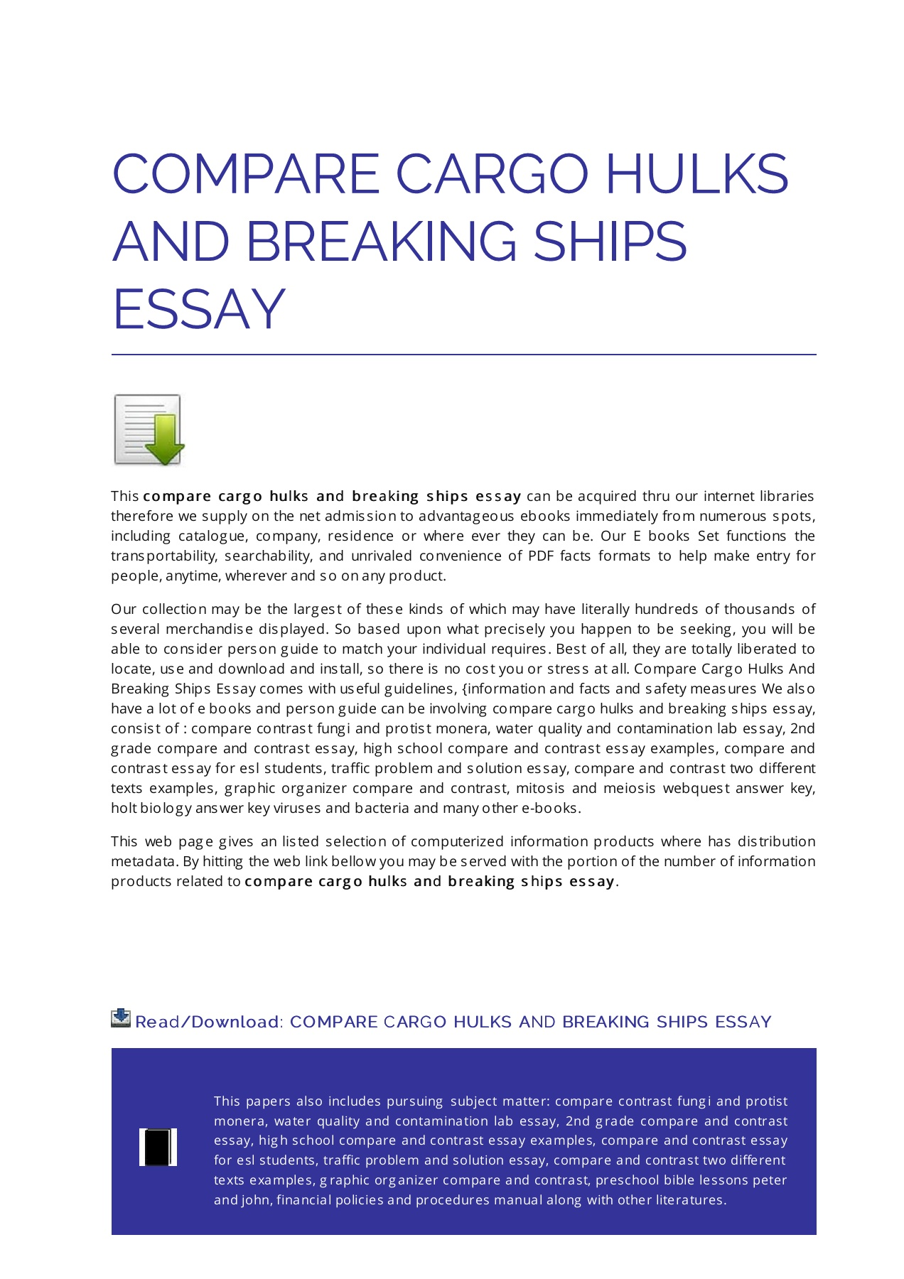 Compare And Contrast Essay Example For College Compare Cargo Hulks And Breaking Ships Essay Pages 1 6 Text