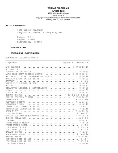 small resolution of copyright 1998 mitchell repair information company llc monday april 01 2002 10 15am article beginning 1992 wiring diagrams chrysler mitsubishi wiring