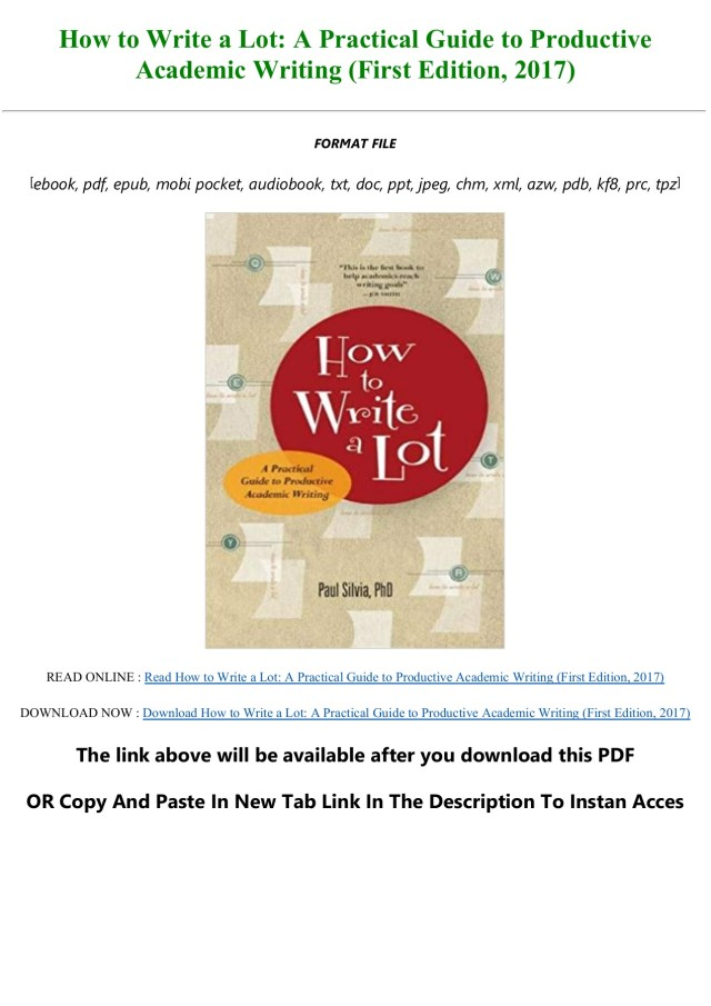 EBOOK [P.D.F] How to Write a Lot: A Practical Guide to Productive