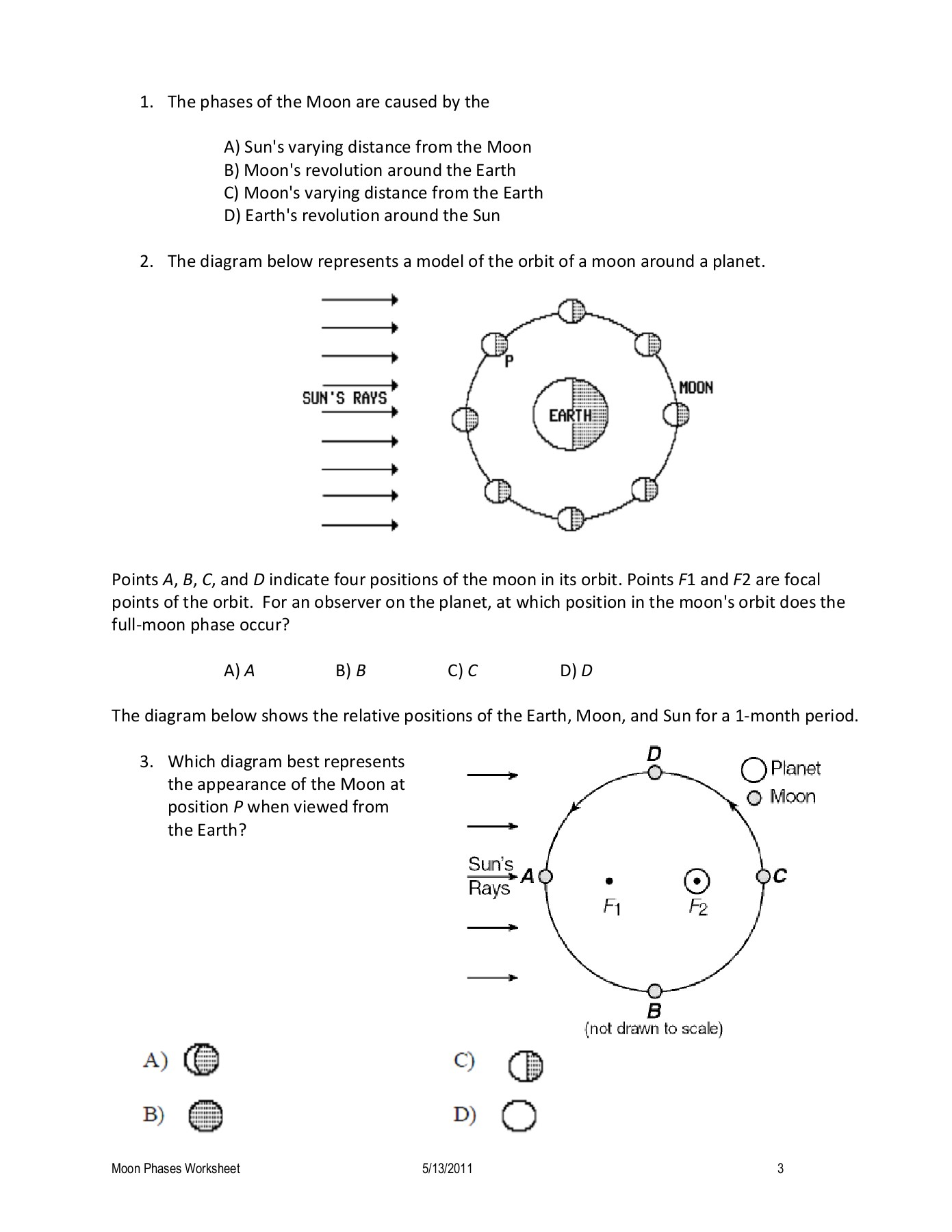 Regents Earth Science Phases Of The Moon Worksheet