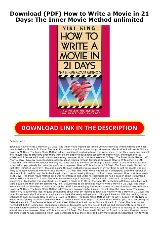 Download (PDF) How to Write a Movie in 9 Days: The Inner Movie