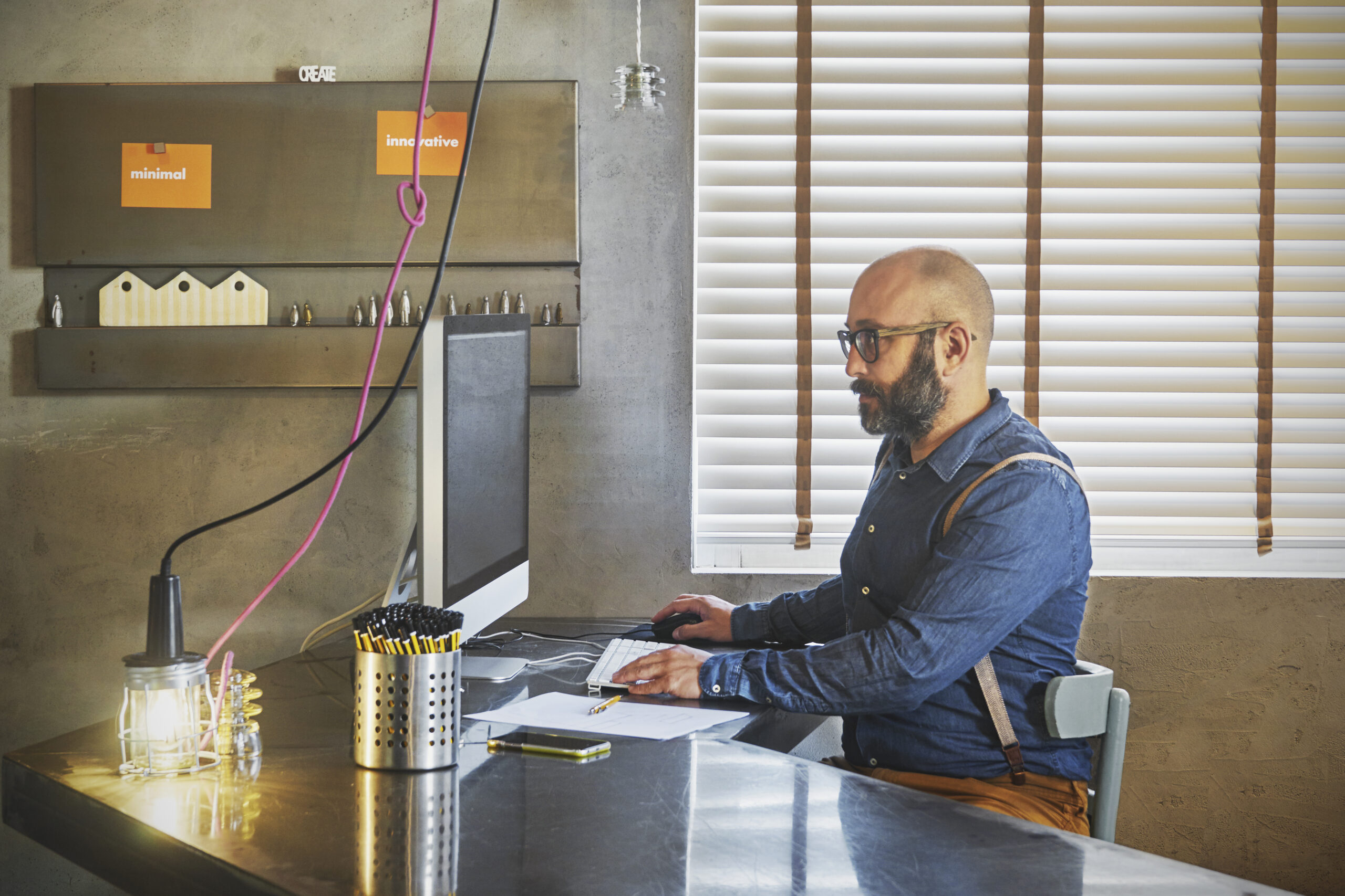 Man working online in office