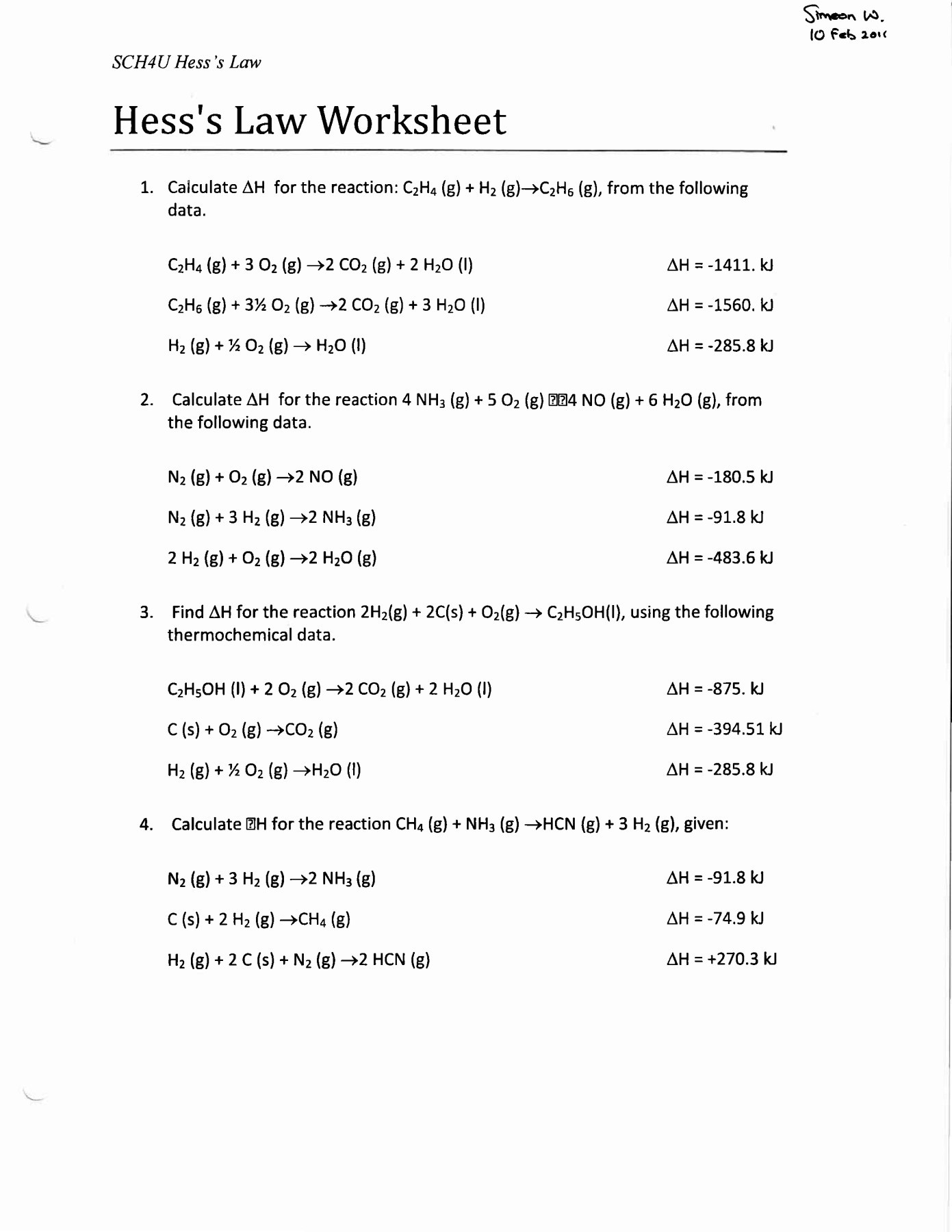 Worksheets Hess Law Worksheet Cheatslist Free Worksheets