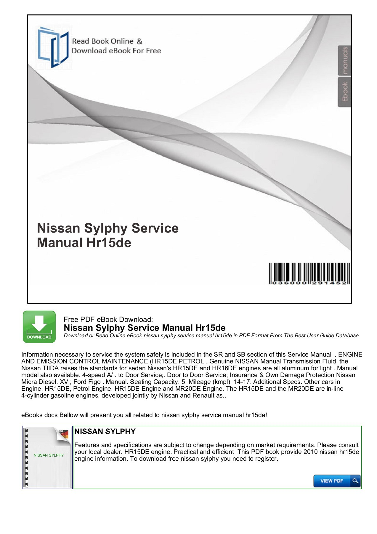 hight resolution of nissan sylphy service manual hr15de mybooklibrary com