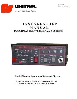Unitrol Touchmaster Wiring Diagram  federal signal