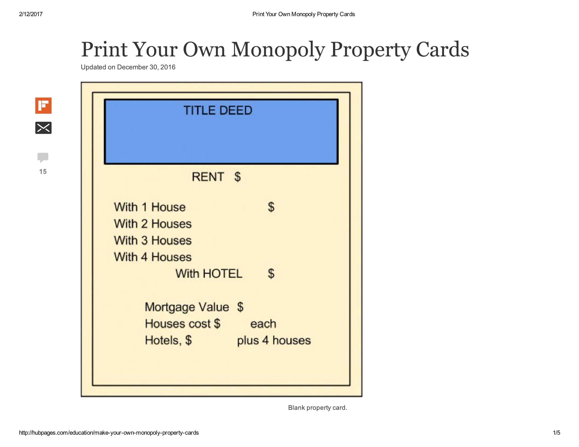 Old Fashioned Monopoly Property Cards Printable