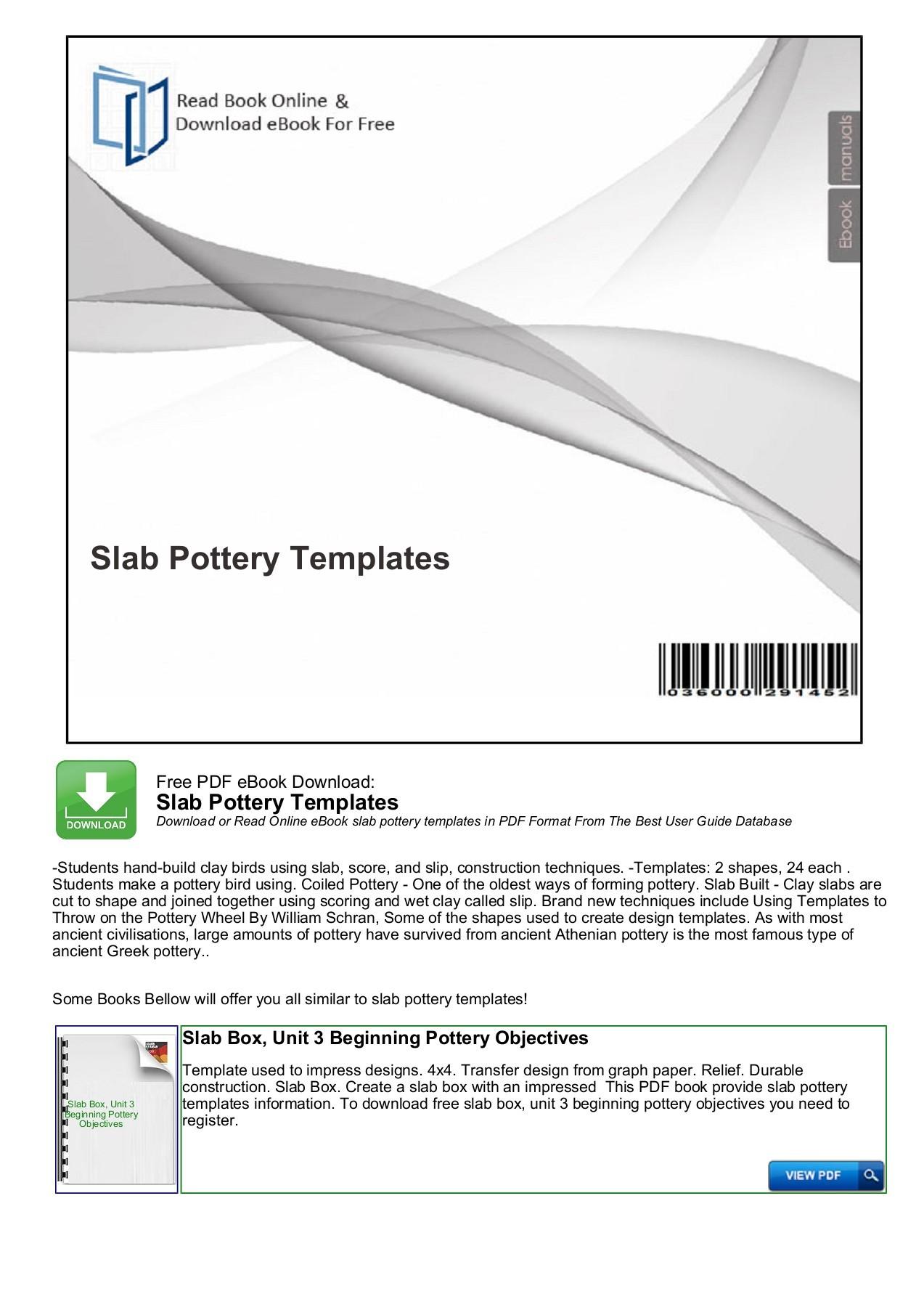 Free Printable Slab Pottery Templates