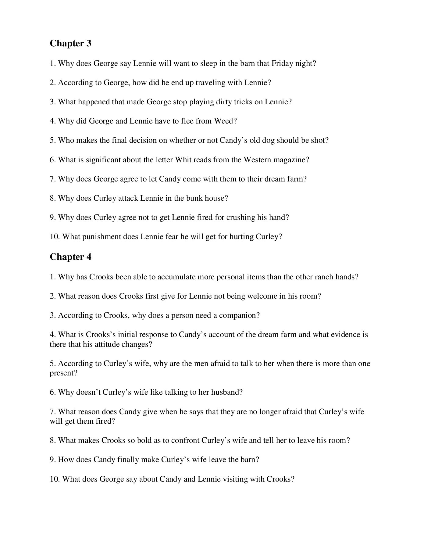 Mice Of Men Questions Of Mice And Men Chapter 4 Questions