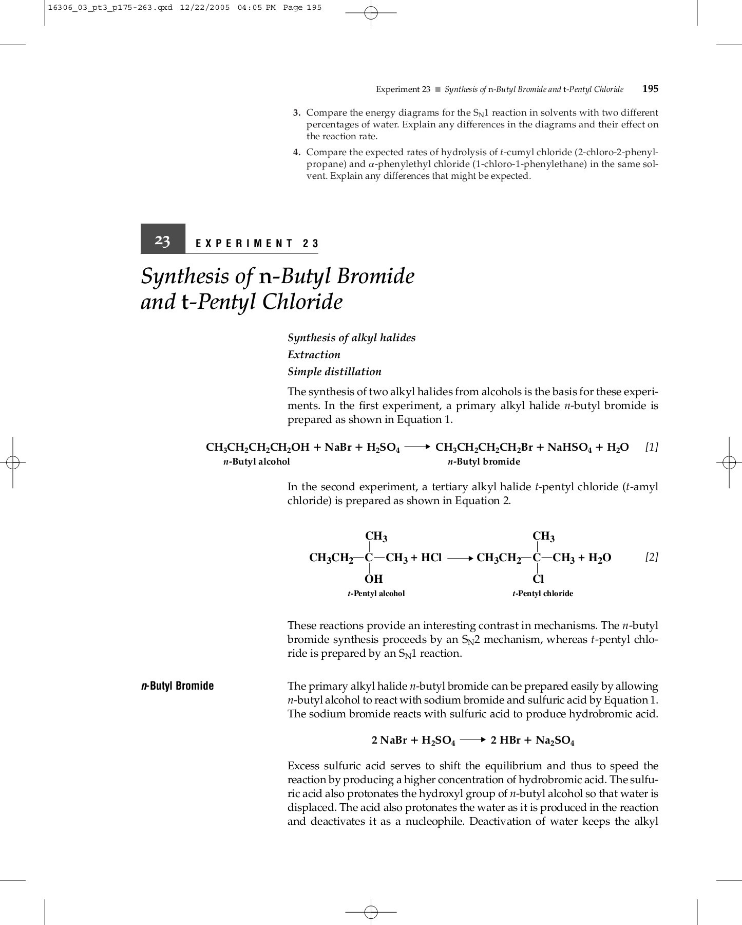hight resolution of 23 experiment 23 synthesis of n butyl bromide and t pentyl