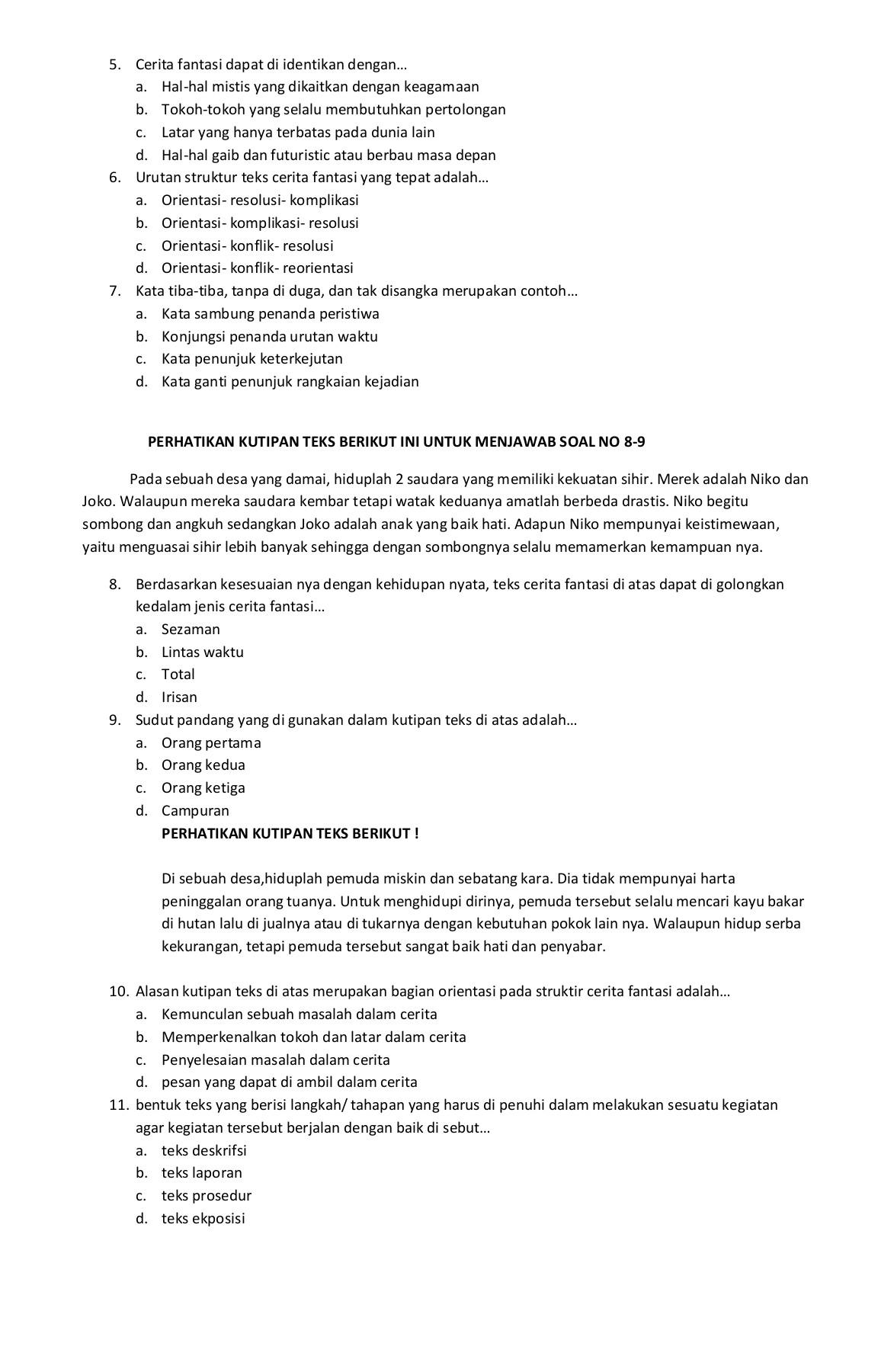 Soal Bahasa Indonesia Kelas 7 : bahasa, indonesia, kelas, INDONESIA, KELAS