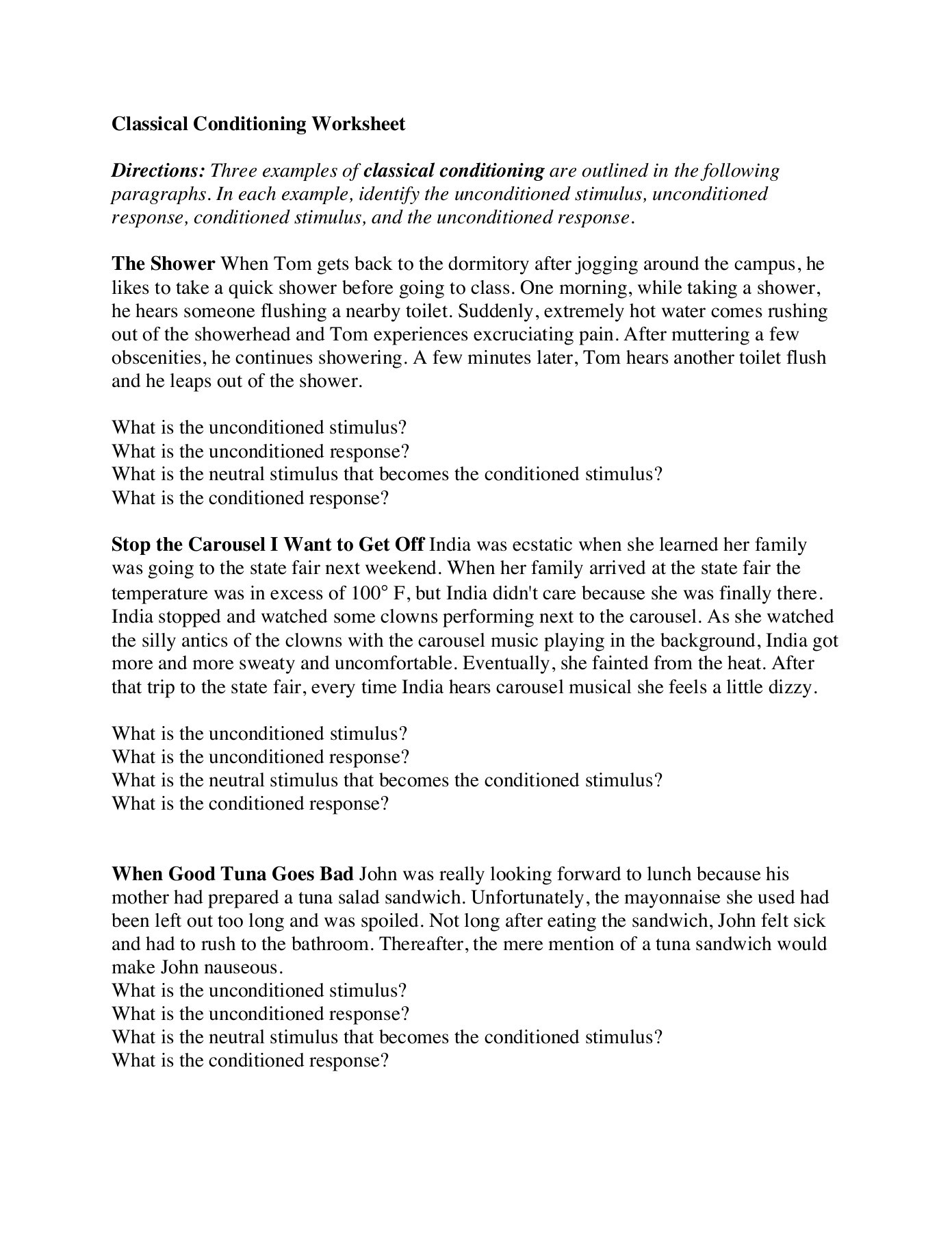Printables Of Classical Conditioning Worksheet Answers