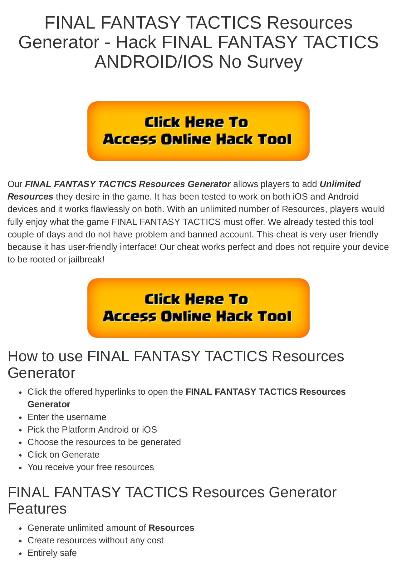 Online Generator Tool Ff : online, generator, FINAL, FANTASY, TACTICS, Resources, Generator, ANDROID/IOS, Survey