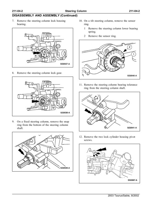 small resolution of ford taurus steering column diagram