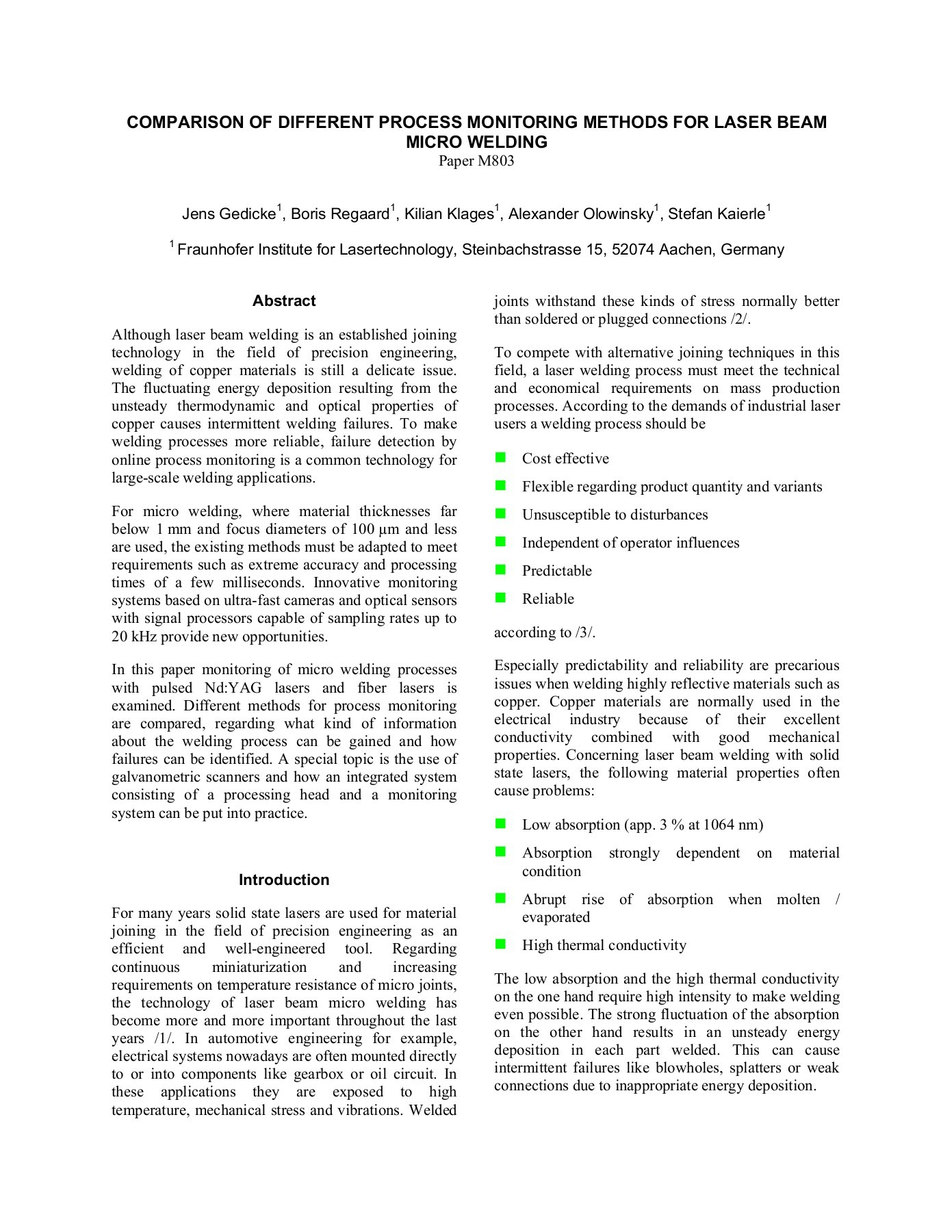 hight resolution of comparison of different process monitoring methods for