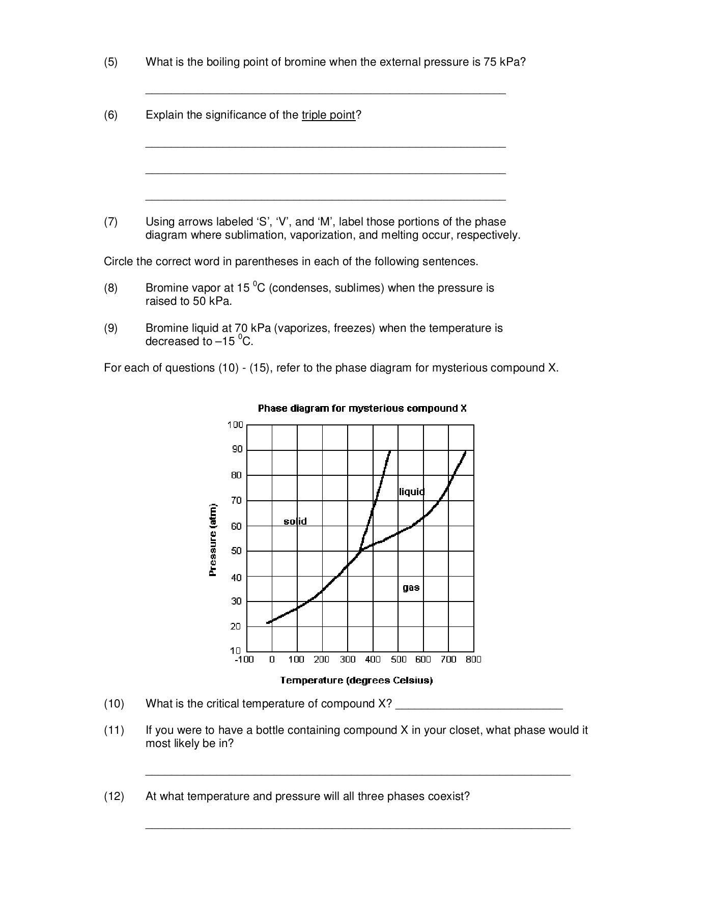 Phase Diagram Worksheet Answer Key