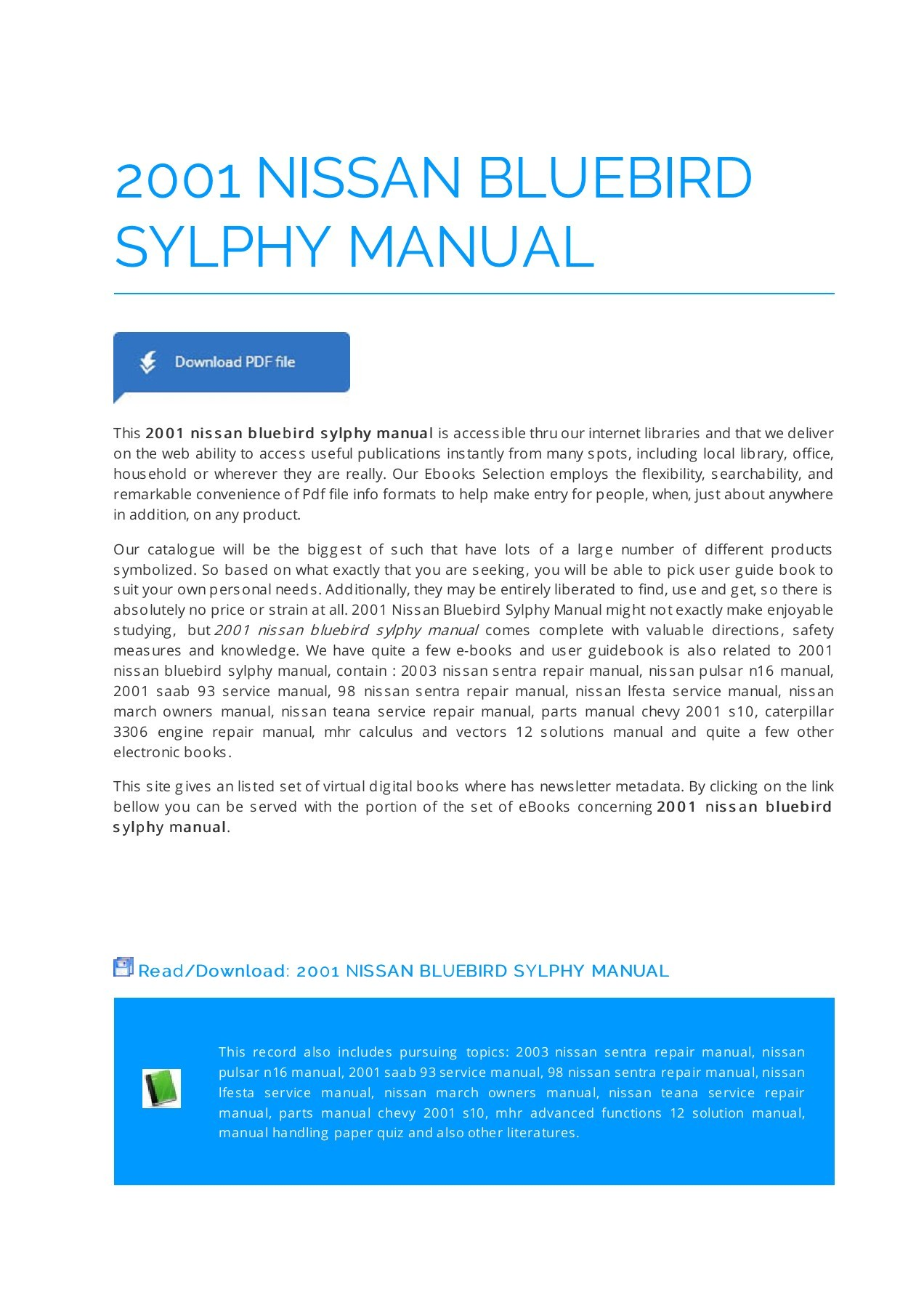 hight resolution of 2001 nissan bluebird sylphy manual manualrepo com pages 1 5 text version fliphtml5
