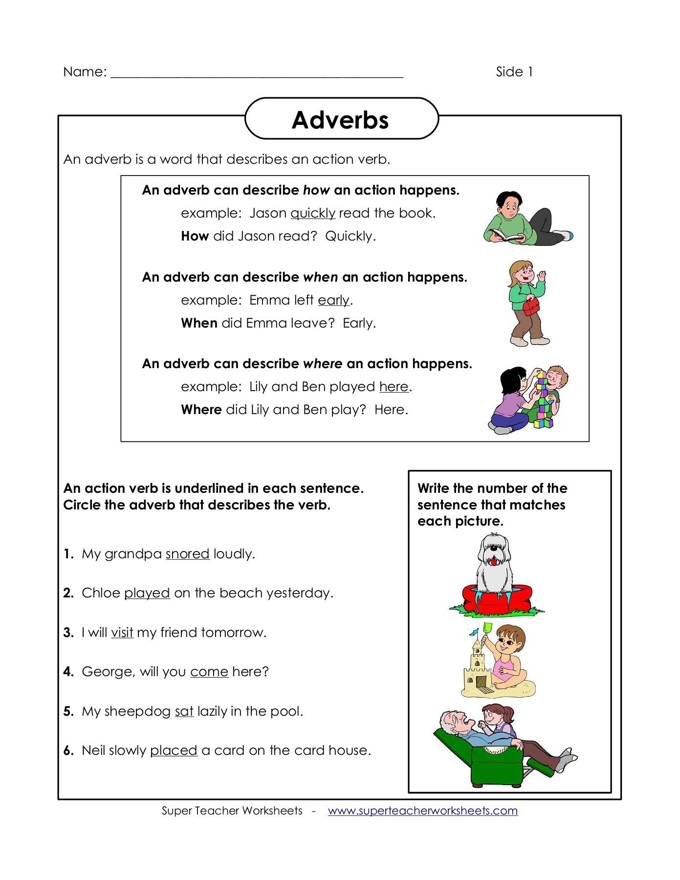 Worksheet Adverb Examples Sentences