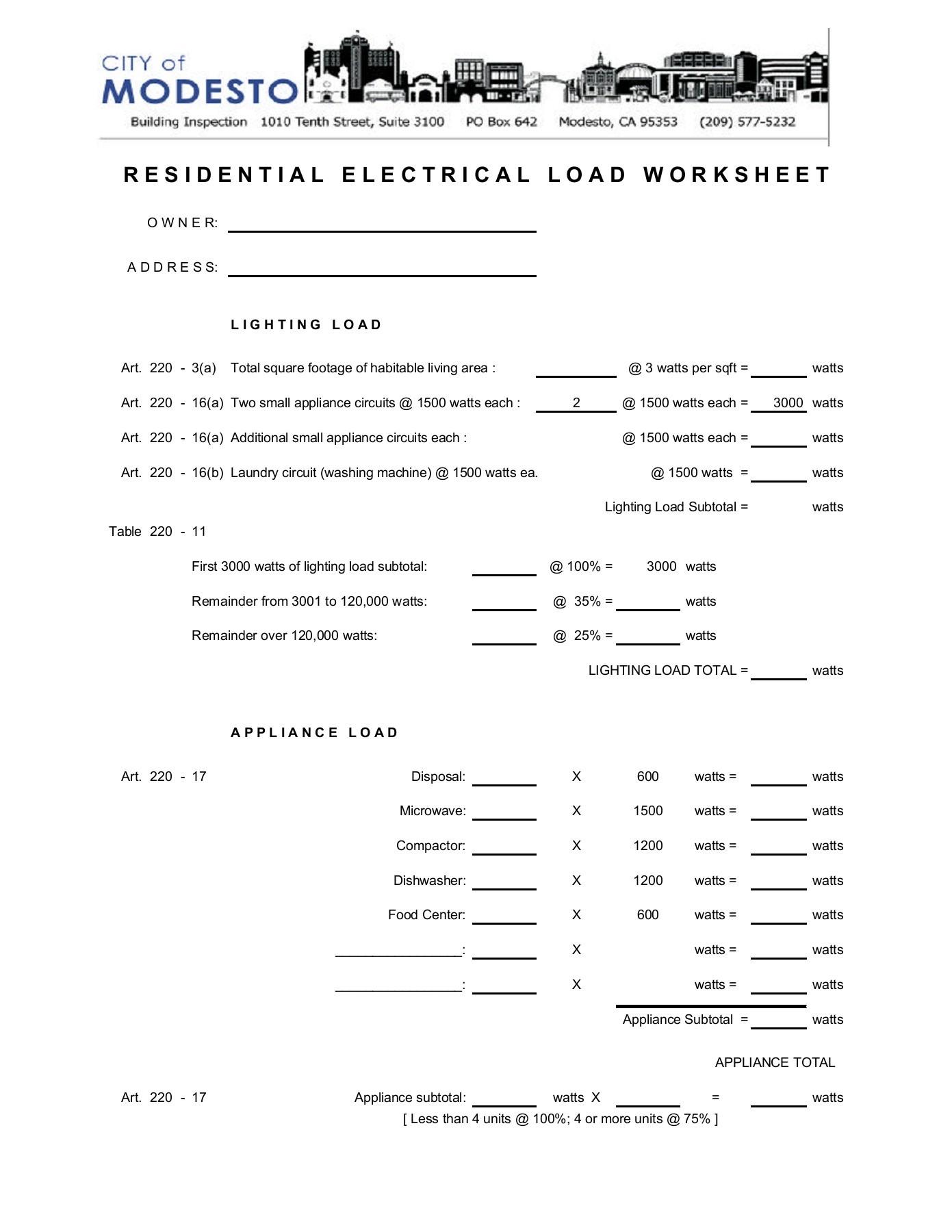 Residential Electrical Load Worksheet