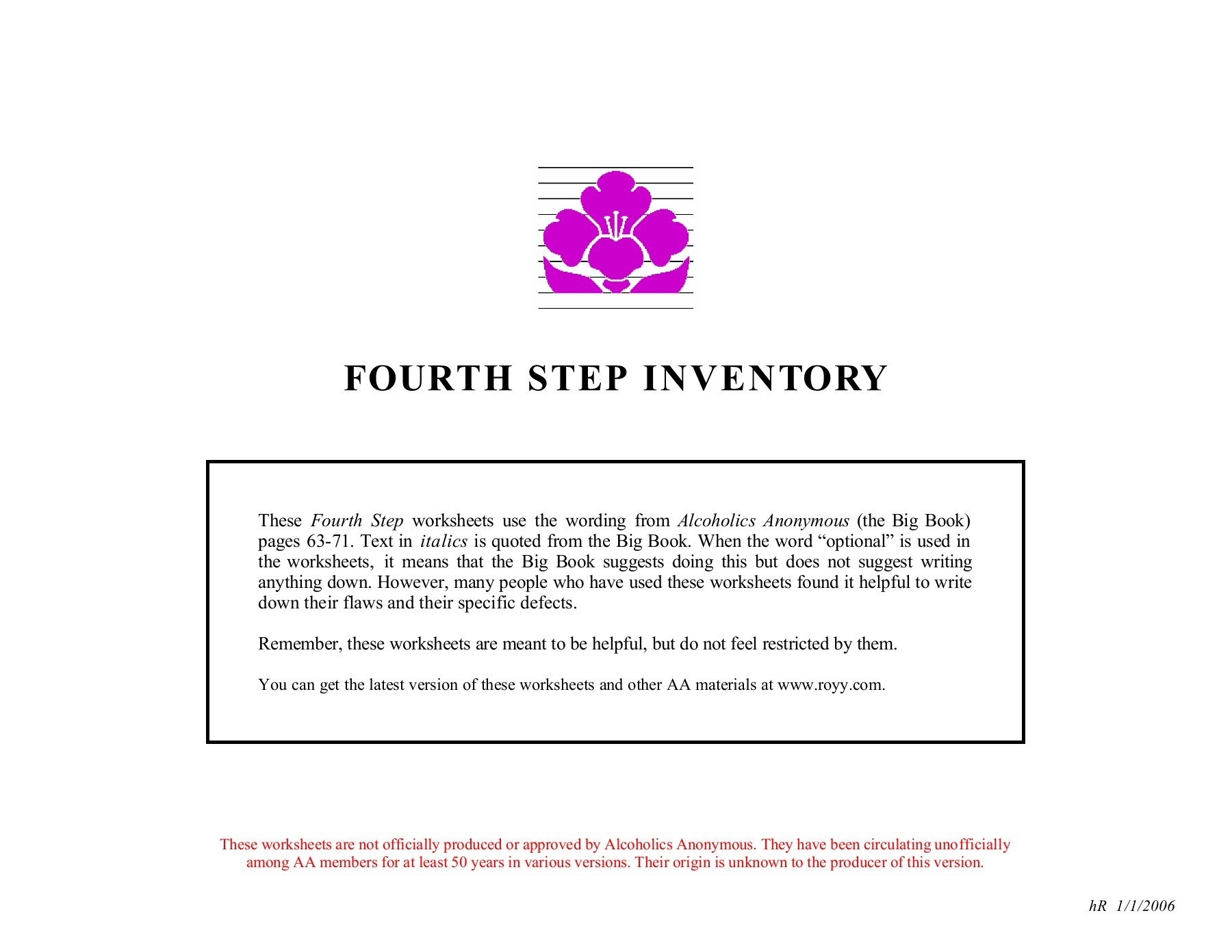 Alcoholics Anonymous 12 Steps Worksheets