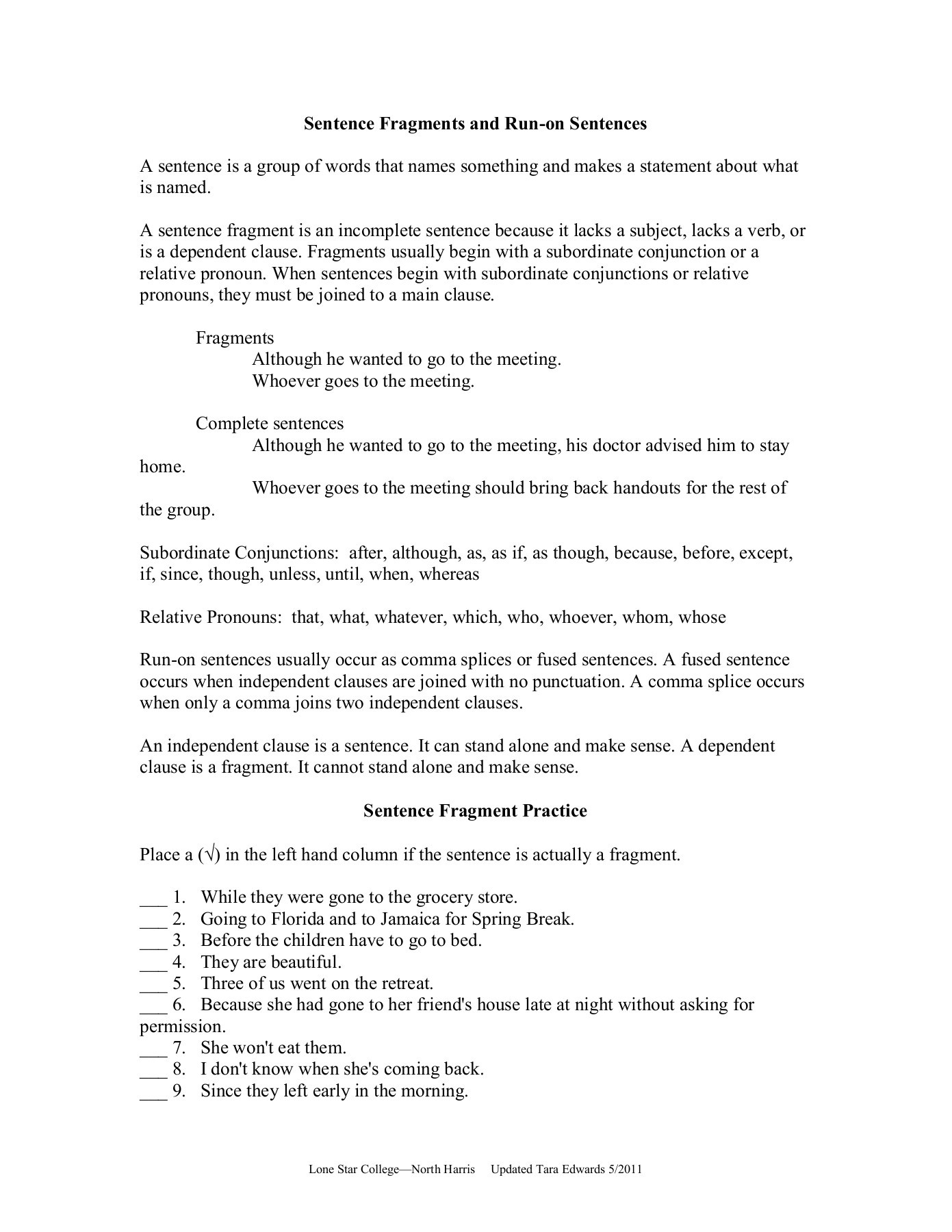 Sentence Fragments And Run Ons Worksheet