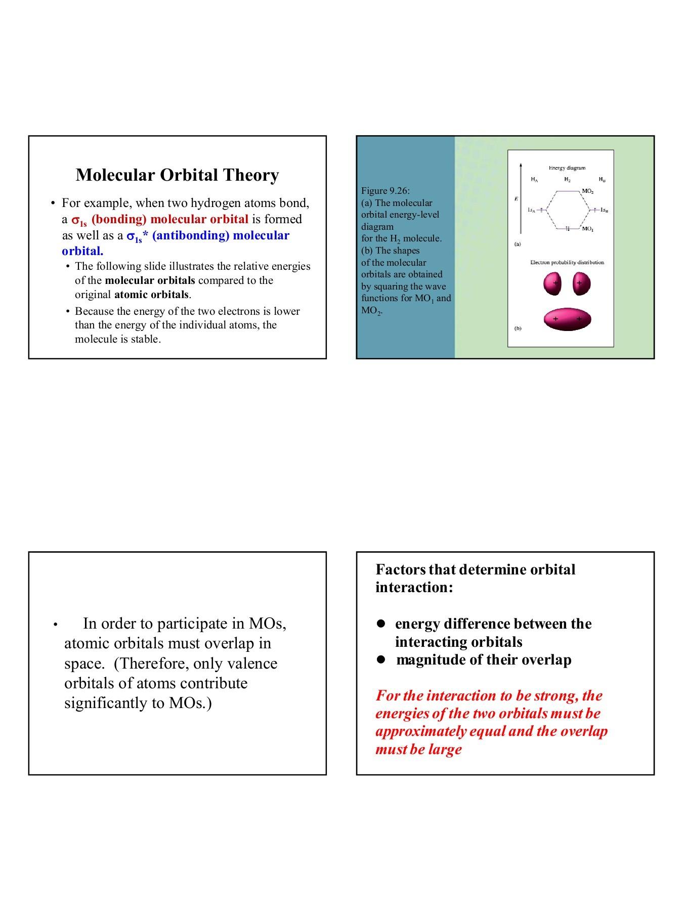 hight resolution of molecular orbital theory odu