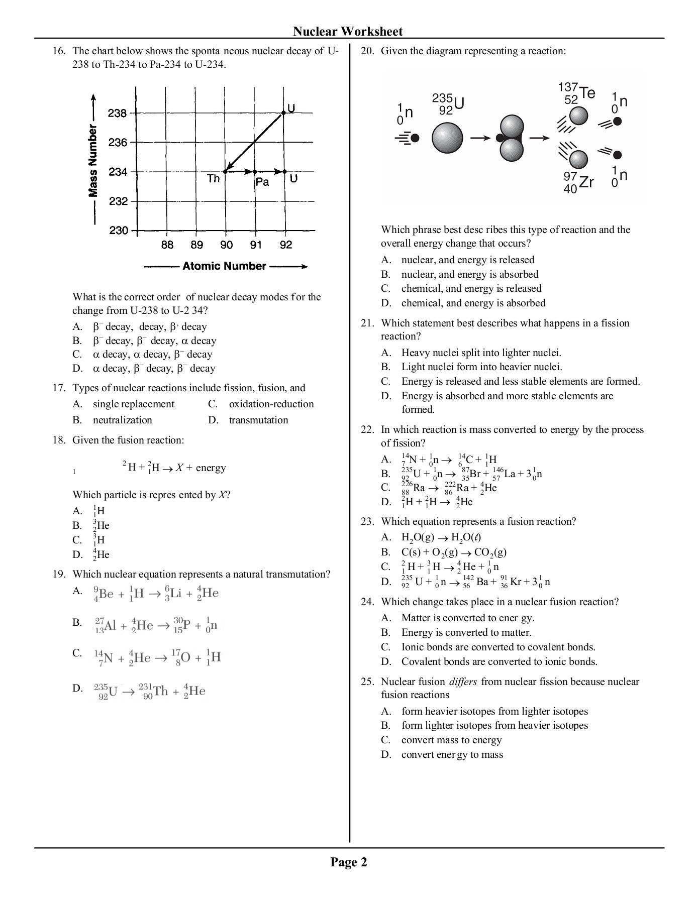 Fission And Fusion Worksheet Answers